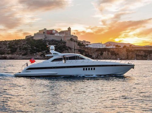 Ibiza rent yacht Mangusta 80 with 3 cabins